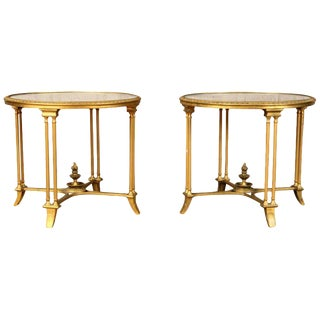 Pair of Bagues Style Gilt Bronze Neoclassical End Tables or Pedestals For Sale