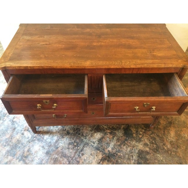 This chest dates to 1790, but has replaced pulls and strikes. It is in excellent condition, with minor wear consistent...