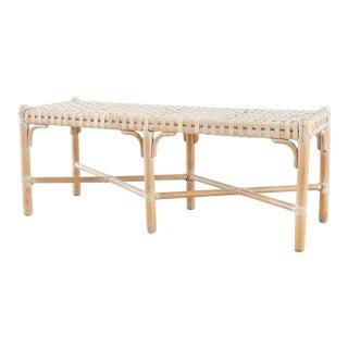 McGuire Organic Modern Rattan Bench For Sale