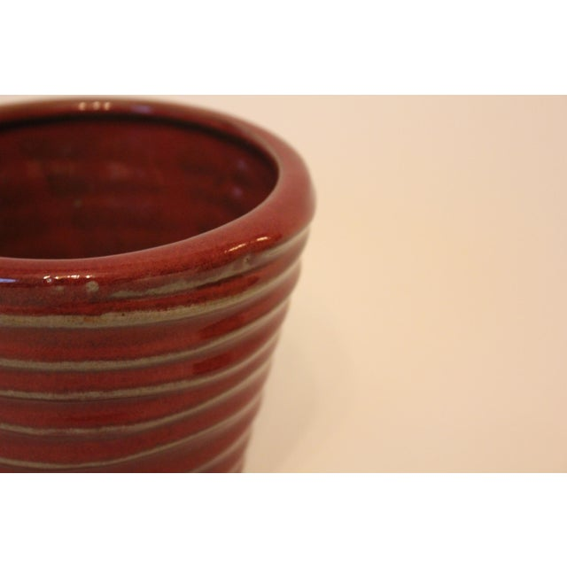 Vintage Red Swirled Ceramic Planter For Sale - Image 4 of 5