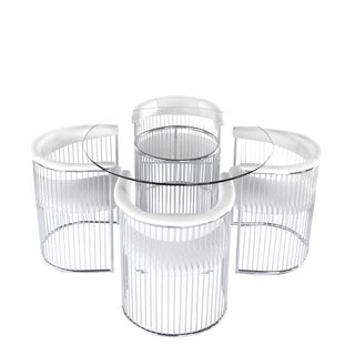 1970s Mid Century Modern Arthur Umanoff Chrome Round Dining Set - 5 Piece Set For Sale