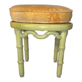 1960s Vintage Yellow Wooden Bamboo Foot Stool For Sale