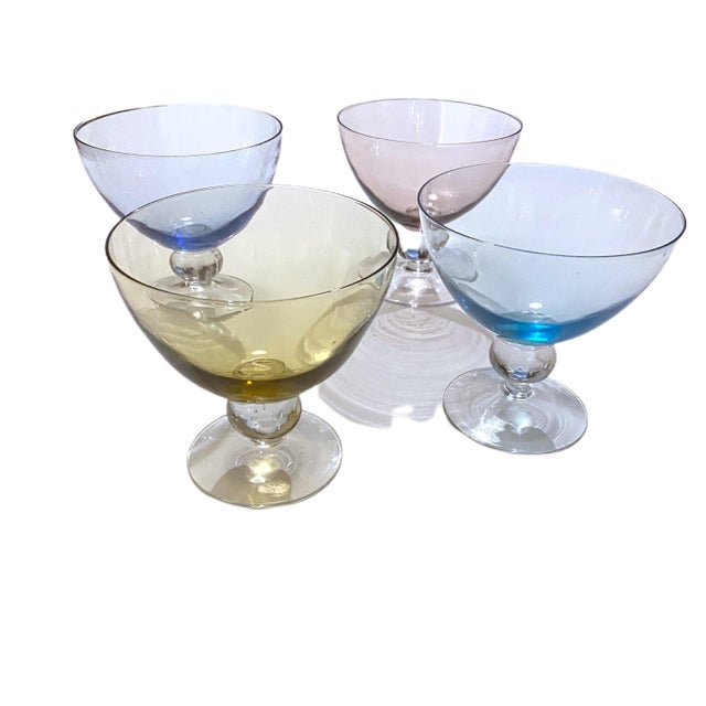 Vintage 1950's Scandinavian Hand Bowl Glass Colorful Desert Glasses - a Set of 4 For Sale - Image 11 of 11