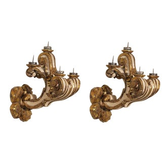 Italian Painted & Gilt Wood Sconces For Sale