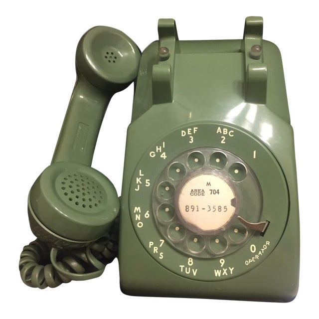 Mid-Century Modern Green Rotary Dial Phone - Image 1 of 5