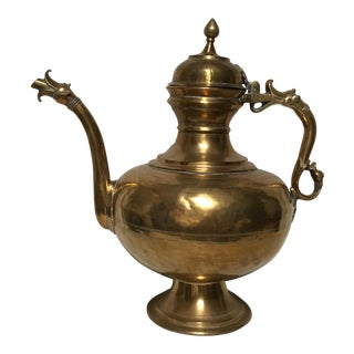 Early 20th Century Vintage Brass Leaf Etched Turkish Tea Pot Made in India For Sale