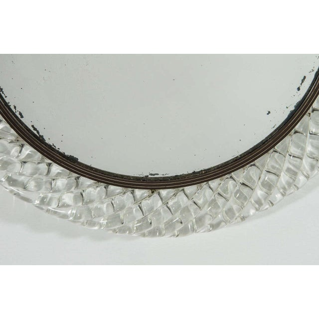 Venini Italian Murano Art Glass and Bronze Wall or Vanity Mirror For Sale - Image 4 of 10