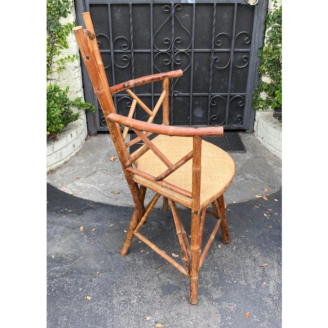 English Rare Antique 19 C Bamboo Corner Chair For Sale - Image 3 of 5