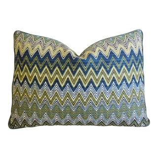 "Modern Pindler & Pindler Kandira Zigzag Feather/Down Pillow 22"" X 16"" For Sale"