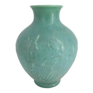 Rookwood Green Matte Jumping Deer Pottery Vase 6053 For Sale