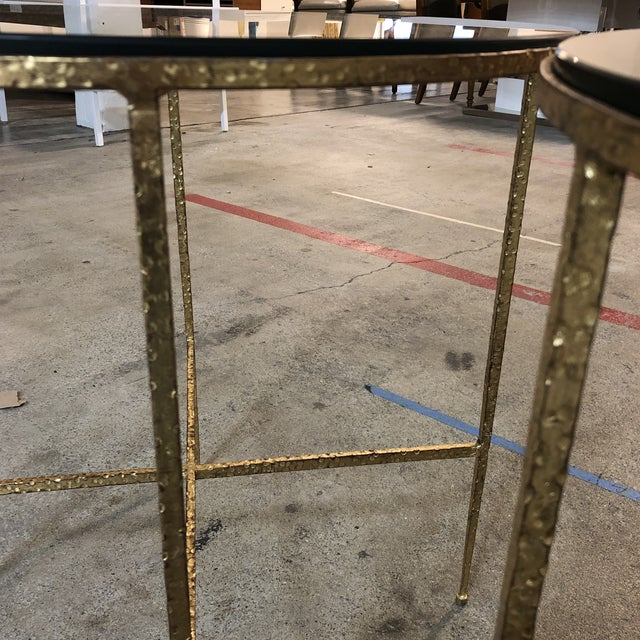 Pair of Custom Gold Finish Round Side Tables For Sale - Image 10 of 12
