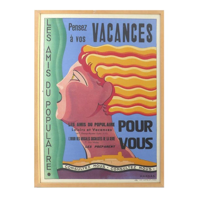 French Art Deco Vacances Poster by Marsas For Sale