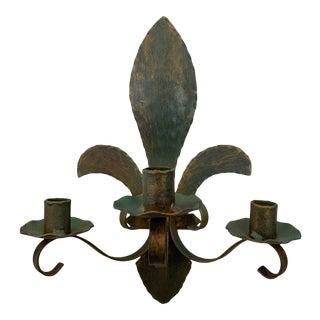 Hand Crafted Single Fleur-De-Lis Iron Sconce For Sale