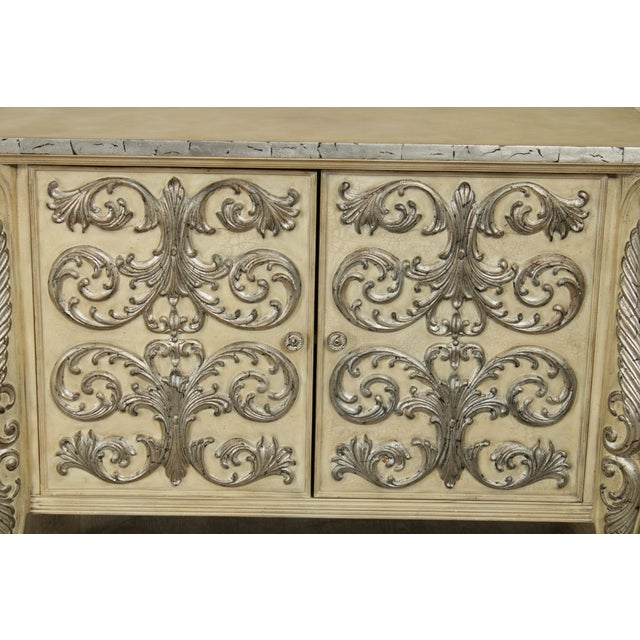 Rococo Style Custom Silver Leaf Foliage 2 Door Commodes Servers - a Pair For Sale - Image 9 of 12