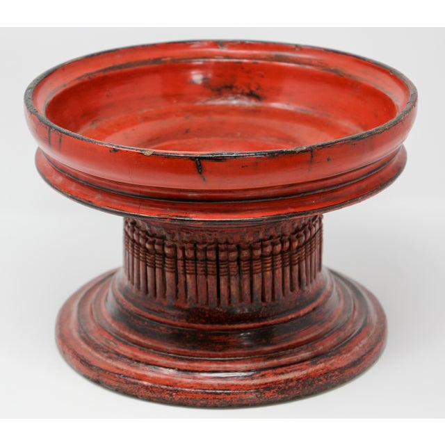 Thai Red Carved Wood Temple Offering Box Basket For Sale - Image 9 of 10