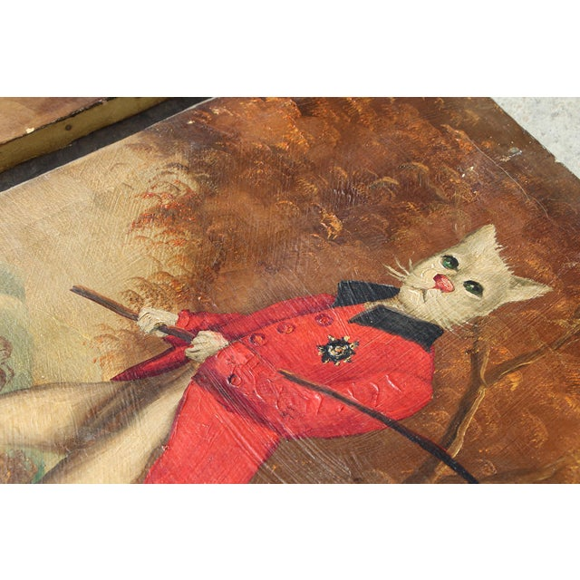 1900s French Singerie Style Portrait Oil Paintings of Cats in Military and Formal Dress - a Pair For Sale - Image 4 of 13