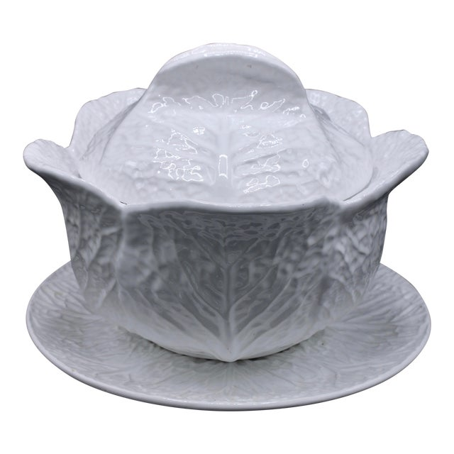 Mid-20th Century Extra Large White Cabbage Pottery Tureen and Plate For Sale
