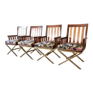 Mid-Century Modern Brass X-Base Armchairs, Set of Four For Sale