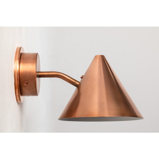 Mid-Century Modern Hans-Agne Jakobsson 'Mini-Tratten' Polished Copper Outdoor Sconces - a Pair For Sale - Image 3 of 6