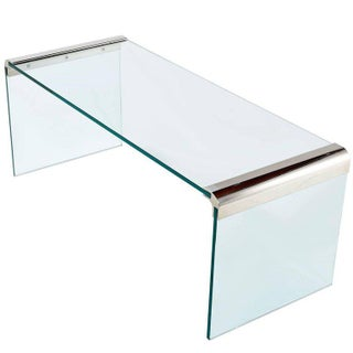 Pace Collection Chrome and Glass Waterfall Coffee Table by Leon Rosen For Sale