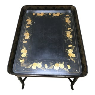 Mid 19th Century Victorian Tray Table With Gilt Floral Decoration For Sale