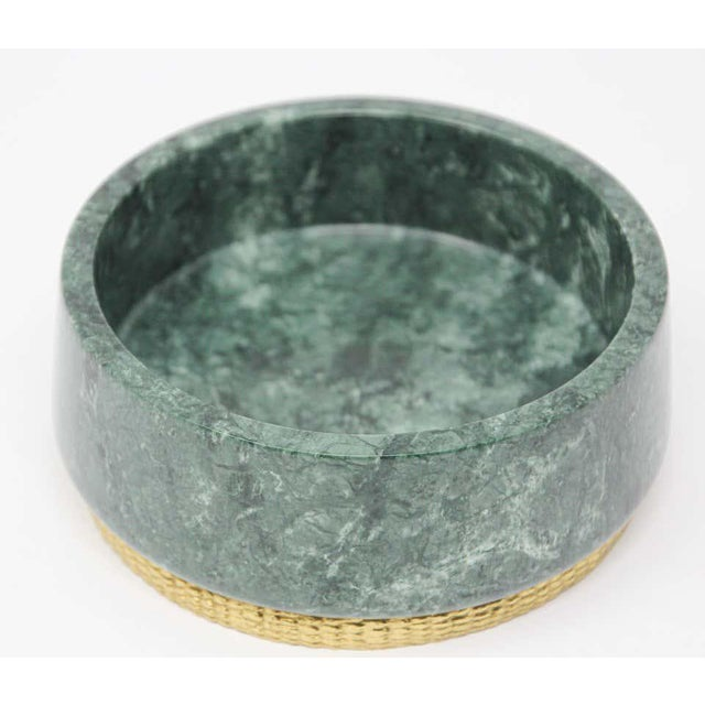 Modern Modern Italian Green Marble and Brass Footed Bowl For Sale - Image 3 of 8