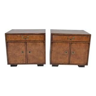 Vintage Mid-Century Widdicomb Burled Nightstands - A Pair For Sale