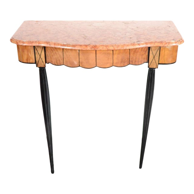 Art Deco Exotic Marble Top Console Table For Sale