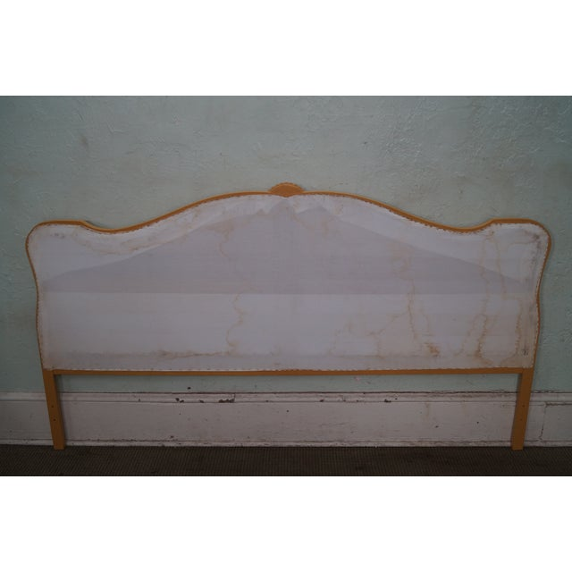 Vintage French Louis XV Style Tufted Upholstered King Headboard For Sale - Image 4 of 10