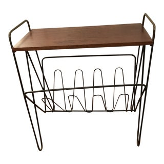 1950s Danish Modern Teak and Wire Magazine Rack/End Table