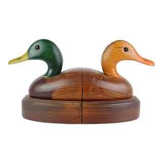 Hand Painted Mallard Duck Decoy Style Male Female Bird Bookends - a Pair For Sale
