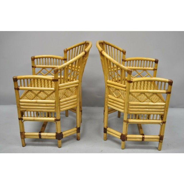 Chippendale Vintage Brighton Pavilion Style Bamboo & Cane Rattan Arm Chairs- A Pair For Sale - Image 3 of 11
