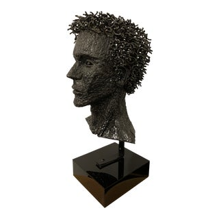 1980s Klein Signed Wire Metal Bust on Stand For Sale