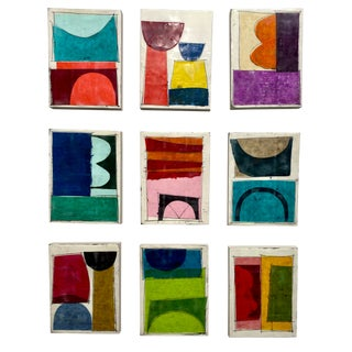 """Ivory Towers"" Original Encaustic Collage Painting - 9 Piece Installation by Gina Cochran For Sale"