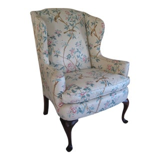 1980s Basic Furniture Styles Queen Anne Wingback Armchair For Sale