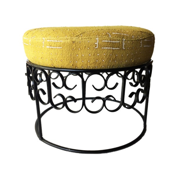 Traditional Fer Forge Round Ottoman W/Mustard /White Mud Cloth For Sale - Image 3 of 8