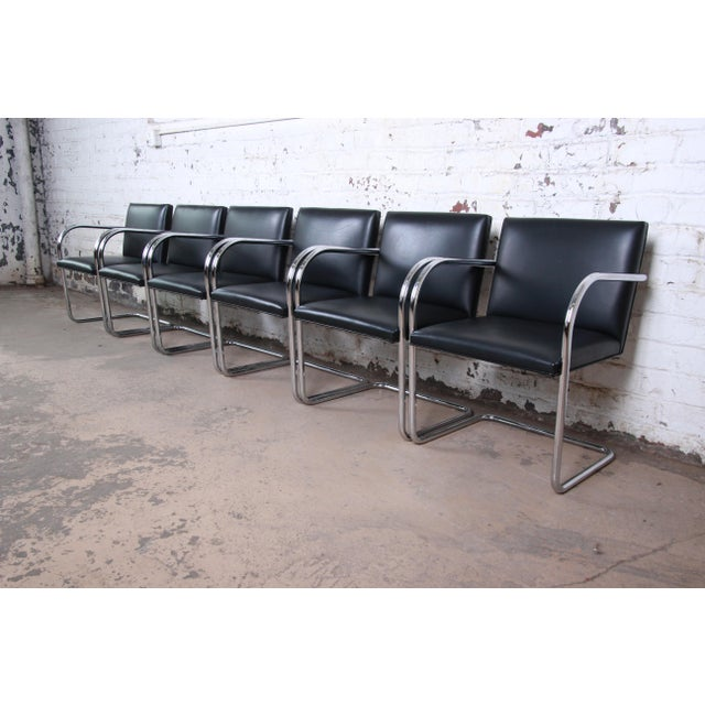Mies Van Der Rohe for Knoll Black Leather and Chrome Brno Chairs - a Pair For Sale In South Bend - Image 6 of 8