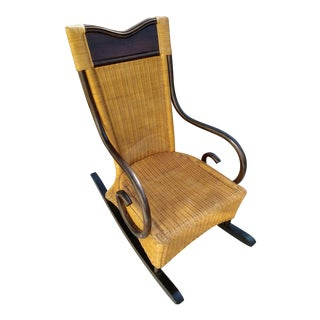 Vintage Solid Wood and Natural Wicker Curled Wood Arms Rocking Chair For Sale
