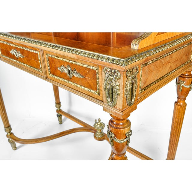 Antique French Louis XV Style Satinwood Writing Desk For Sale In New York - Image 6 of 8