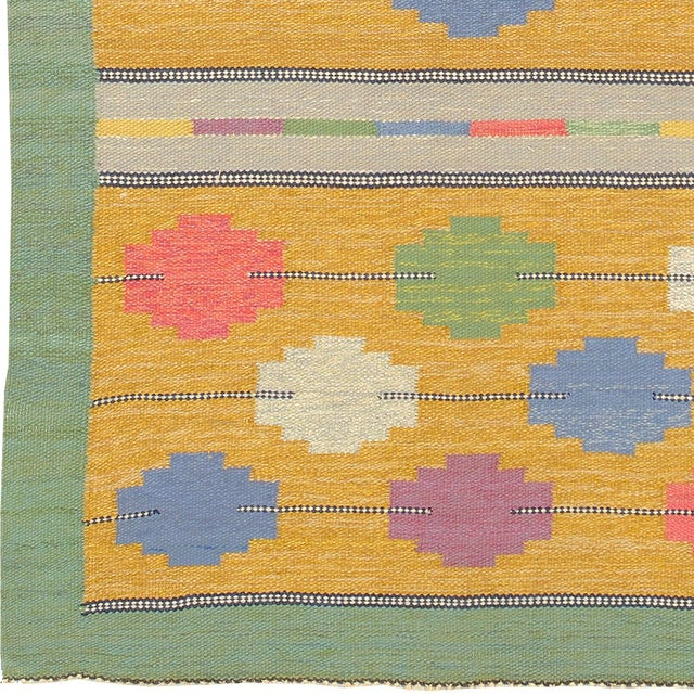 Swedish Flat Weave Carpet Handwoven Initialed: SCE FJ Hakimian Reference #22002