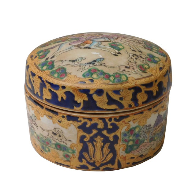 Oriental Porcelain Dominos Dog Container Box - Image 2 of 6