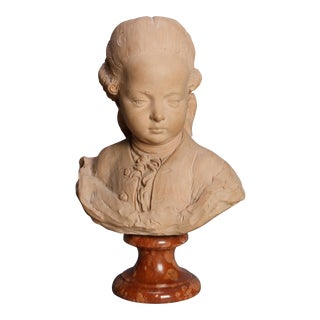 Antique German Terracotta Young Beethoven Portrait Bust, circa 1880 For Sale