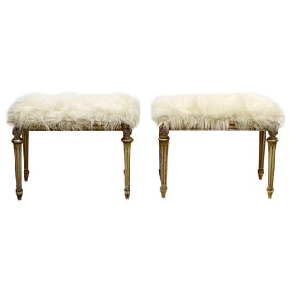 Hollywood Regency Louis XVI Style Faux Fur Covered Benches - a Pair