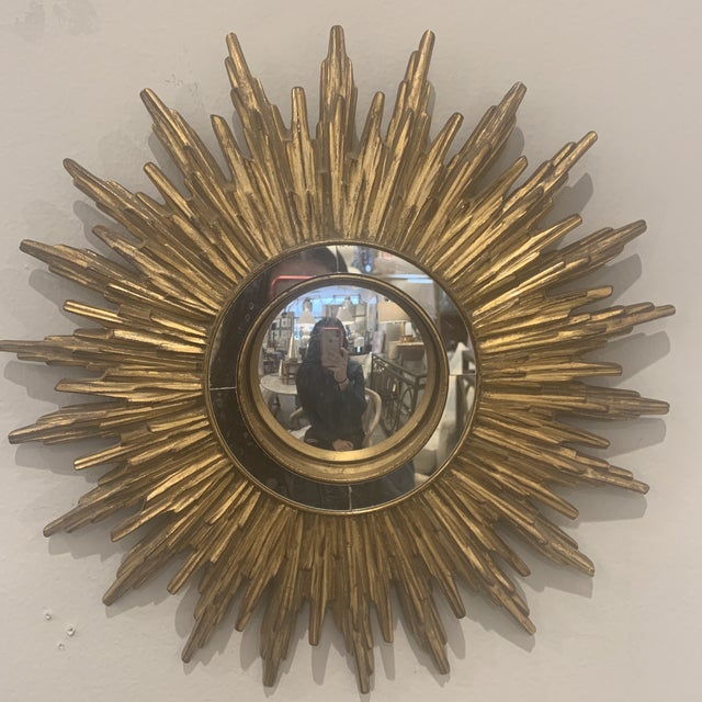 Hollywood Regency Gilded Sunburst Mirror For Sale In Houston - Image 6 of 13