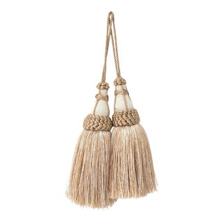 Tan and White Key Tassels With Looped Ruche Trim - a Pair For Sale