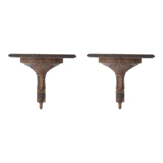 Pair of Neo-Classical Style Carved Greek Key and Acantus Leaf Design Wooden Wall Shelves For Sale
