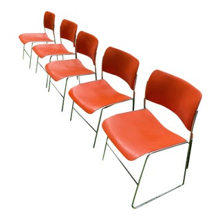 Mid-Century Modern 40/4 David Rowland Stack Chairs - Set of 5 For Sale