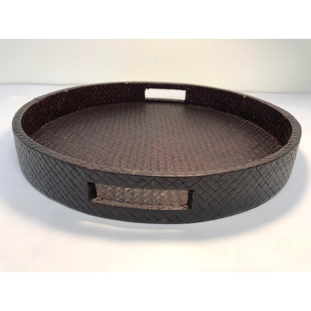 Transitional Round Rattan Warped Wood Tray For Sale - Image 4 of 4