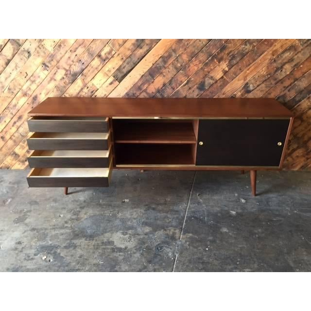 Mid-Century Style Custom Walnut & Brass Credenza For Sale In Los Angeles - Image 6 of 7