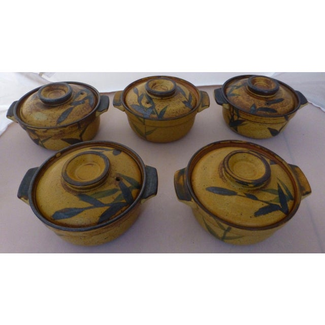 Chinoiserie Inspired Studio Pottery Covered Soup Bowls ~ Set of Five For Sale - Image 12 of 13